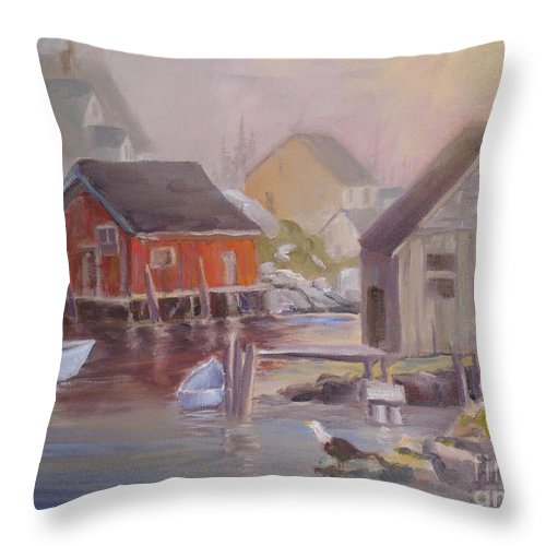 Peggy's Cove Throw Pillow featuring the painting Peggy's Fog by Mohamed Hirji