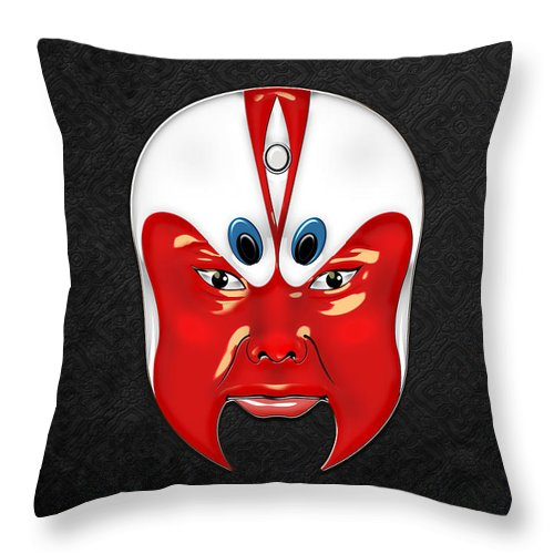 Treasures Of China By Serge Averbukh Throw Pillow featuring the photograph Peking Opera Masks - Wen Zhong by Serge Averbukh