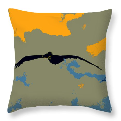 Pelican Throw Pillow featuring the photograph Pelican And Airplane by David Lee Thompson