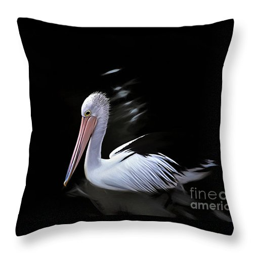 Photography Throw Pillow featuring the photograph Pelican At Dusk by Kaye Menner