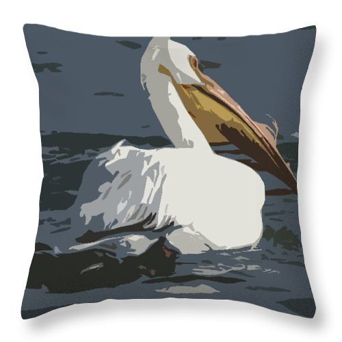 Pelican Throw Pillow featuring the photograph Pelican Cut Out by Heather Coen