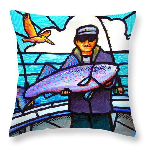 Fish Throw Pillow featuring the painting Pelican Envy by Jim Harris