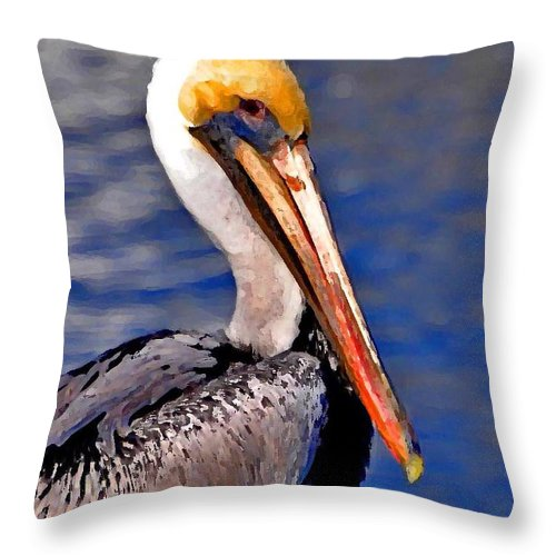 Pelican Throw Pillow featuring the painting Pelican Head Shot by Michael Thomas
