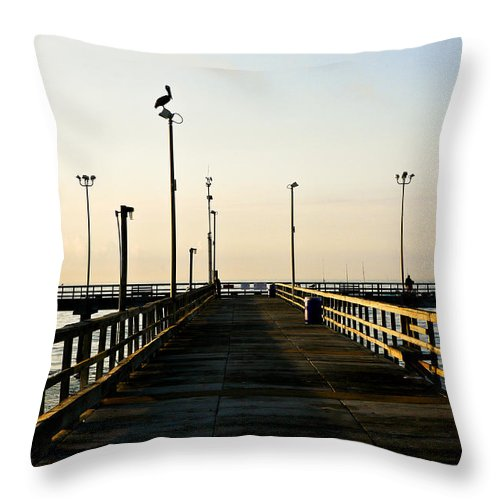 Pelican Throw Pillow featuring the photograph Pelican Morning by Marilyn Hunt