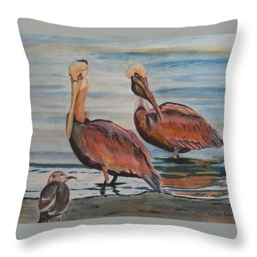 Pelicans Throw Pillow featuring the painting Pelican Party by Karen Ilari