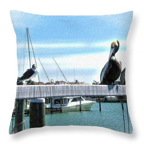 Pelican Throw Pillow featuring the photograph Pelican Perch by Joan Minchak