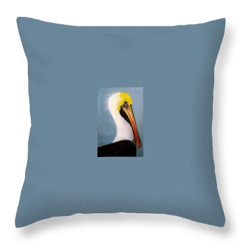 Pelican Throw Pillow featuring the painting Pelican Portrait by Dave Combs