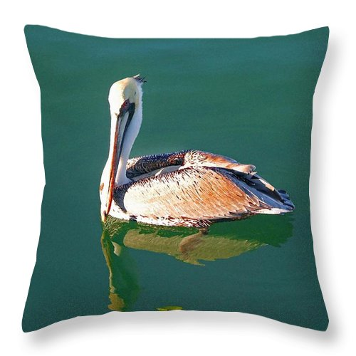 Pelican Reflection On Water Throw Pillow featuring the painting Pelican Reflection by Michael Thomas