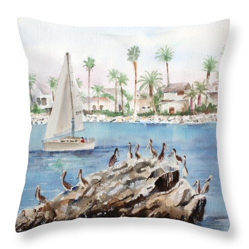 Pelicans Throw Pillow featuring the painting Pelican Rock by Arline Wagner