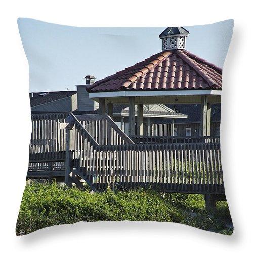 Pelican Throw Pillow featuring the photograph Pelican Weathervane Ocean Isle Norht Carolina by Teresa Mucha