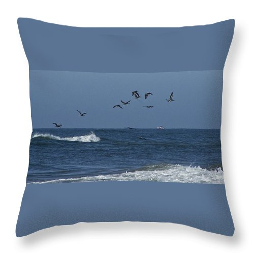 Pelicans Throw Pillow featuring the photograph Pelicans Over The Atlantic by Teresa Mucha