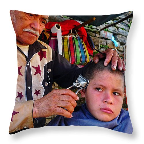 Skip Hunt Throw Pillow featuring the photograph Peluquero Dos by Skip Hunt