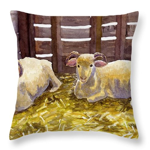 Sheep Throw Pillow featuring the painting Pen Pals by Sharon E Allen