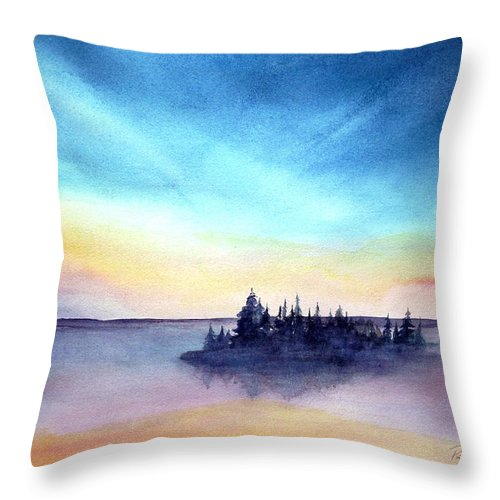 Island Throw Pillow featuring the painting Pender Sunset by Pat Vickers