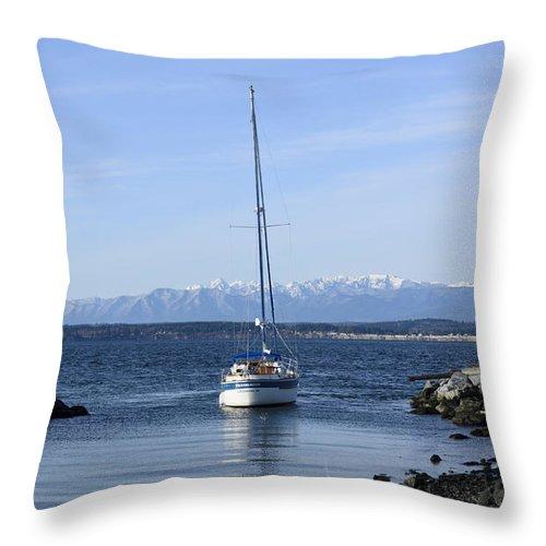 Saliboat Throw Pillow featuring the photograph Pendragon Grounding 01 by Bob VonDrachek