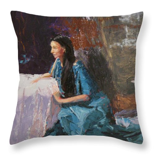 Sitting Woman Throw Pillow featuring the painting Penelope by Irena Jablonski