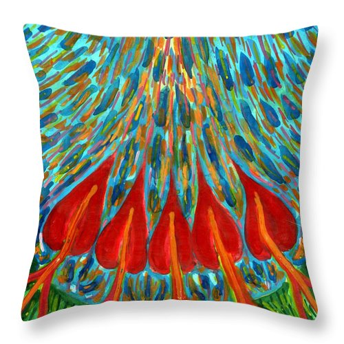 Colour Throw Pillow featuring the painting Penetration by Wojtek Kowalski