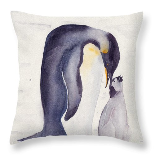 Penguin Throw Pillow featuring the painting Penguin And Baby by Ken Powers