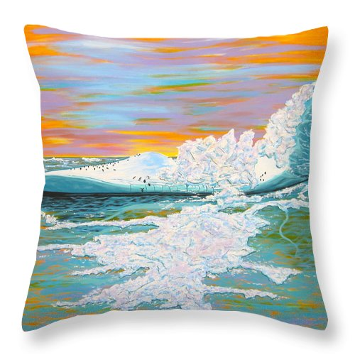 Iceberg Throw Pillow featuring the painting The Last Iceberg by V Boge