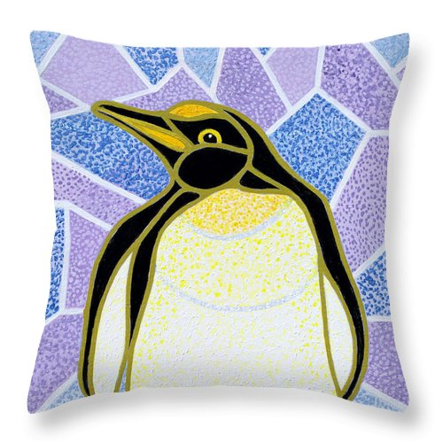 Penguin Throw Pillow featuring the painting Penguin On Stained Glass by Pat Scott