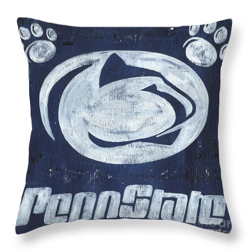 Penn State Throw Pillow featuring the painting Penn State by Debbie DeWitt
