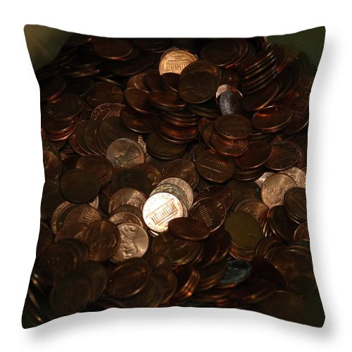 Pennies Throw Pillow featuring the photograph Pennies by Rob Hans