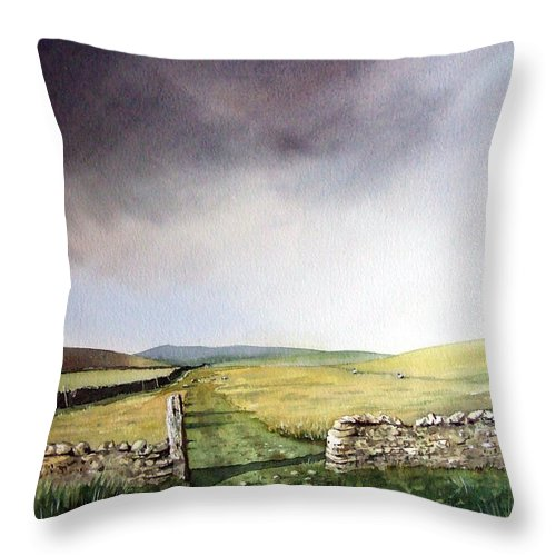 Landscape Throw Pillow featuring the painting Pennine Way by Paul Dene Marlor