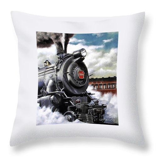 Pennsylvania Railroad Train Painting Railroad Maryland And Pennsylvania Autumn Fall Colors Steam Engine Throw Pillow featuring the painting Pennsy #3885 by David Mittner