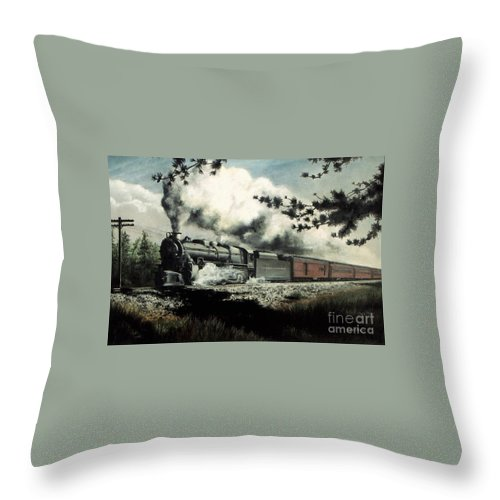 Pennsylvania Railroad Prr Train Painting Railroad Maryland And Pennsylvania Autumn Fall Colors Steam Engine Throw Pillow featuring the pastel Pennsy in the Pines by David Mittner