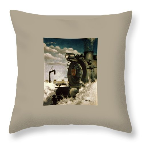 Pennsylvania Railroad Prr Train Painting Railroad Maryland And Pennsylvania Autumn Fall Colors Steam Engine Throw Pillow featuring the painting Pennsy M1 by David Mittner