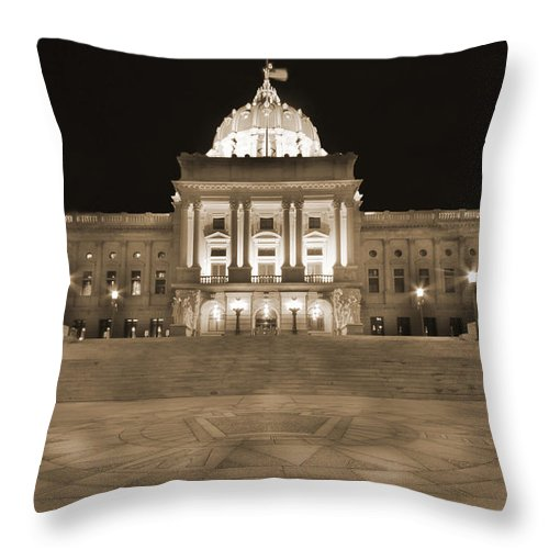 Harrisburg Throw Pillow featuring the photograph Pennsylvania State Capitol by Shelley Neff