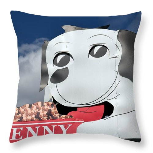 Penny Throw Pillow featuring the photograph Penny Dog Food Sign 3 by Timothy Smith
