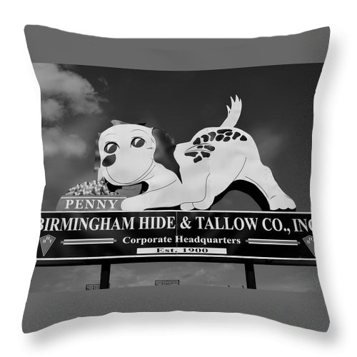 Penny Throw Pillow featuring the photograph Penny Dog Food Sign Photoart by Timothy Smith