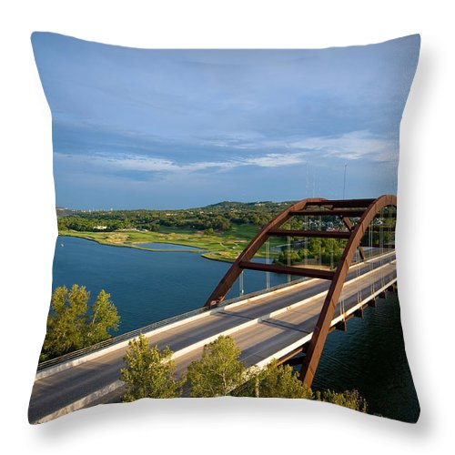 360 Bridge Throw Pillow featuring the photograph Pennybacker Bridge 1 by Sean Wray