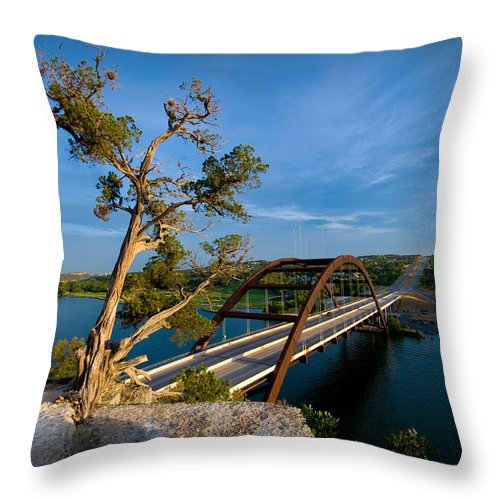 360 Bridge Throw Pillow featuring the photograph Pennybacker Bridge 2 by Sean Wray