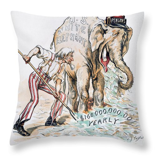 America Throw Pillow featuring the photograph Pension Cartoon, 1893 by Granger