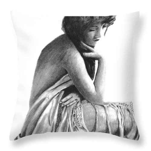 Charcoal Nude Throw Pillow featuring the drawing Pensive by Duane Isaacson