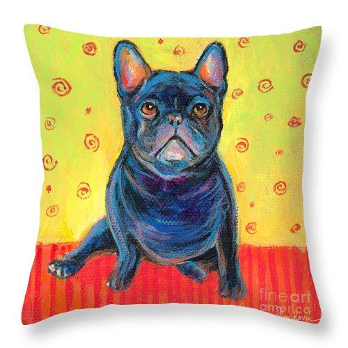 French Bulldog Art Throw Pillow featuring the painting Pensive French Bulldog Painting Prints by Svetlana Novikova