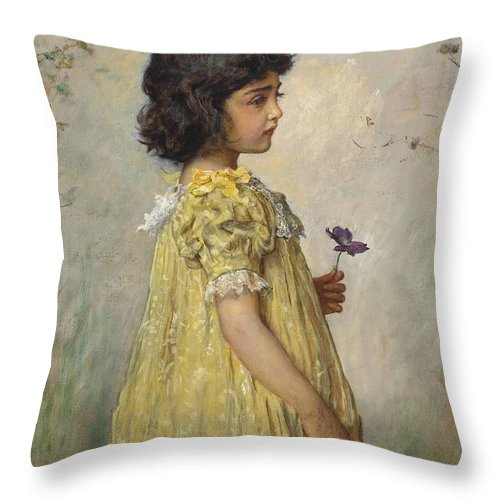John Everett Millais Throw Pillow featuring the painting Pensive by MotionAge Designs