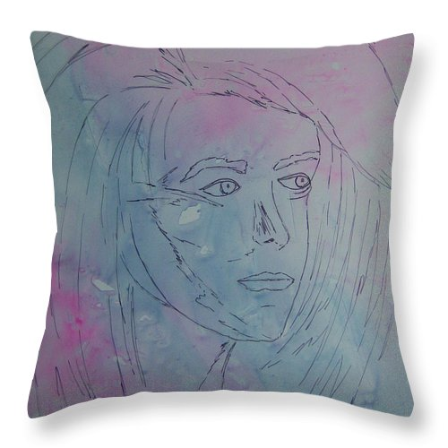 Girl Throw Pillow featuring the painting Pensive by Nancy Nuce