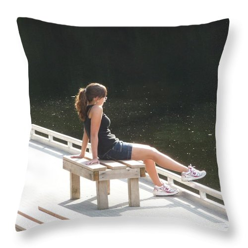Pretty Girl Throw Pillow featuring the photograph Pensive by Ruth Kamenev