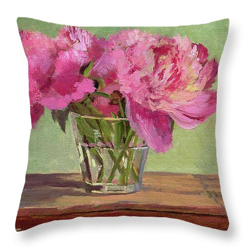 Still Throw Pillow featuring the painting Peonies In Tumbler by Keith Burgess