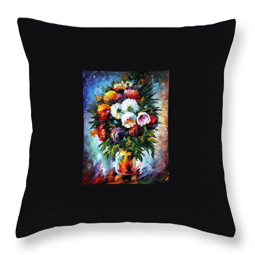 Afremov Throw Pillow featuring the painting Peonies by Leonid Afremov