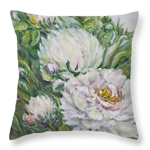 Peony Throw Pillow featuring the painting Peony by Carolyn Bell