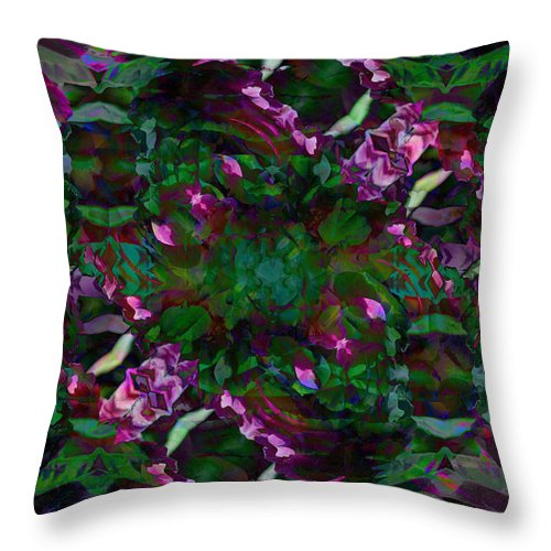 Abstract Throw Pillow featuring the digital art Peony Explosion by Andrea Swiedler