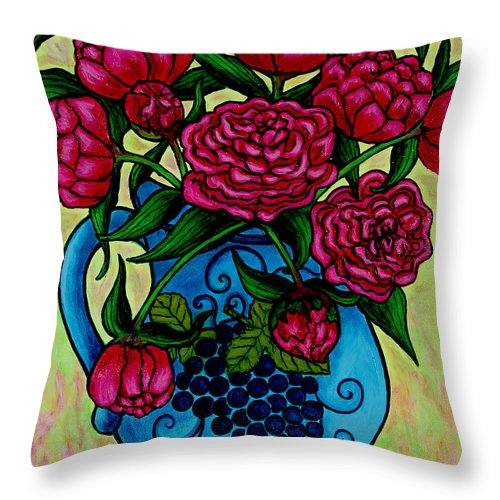 Peonies Throw Pillow featuring the painting Peony Party by Lisa Lorenz