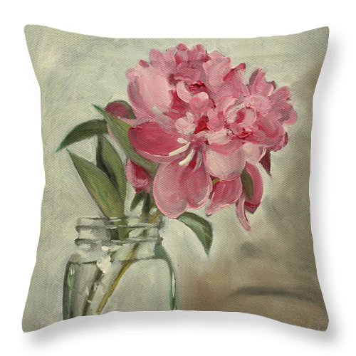 Still-life Throw Pillow featuring the painting Peony by Sarah Lynch