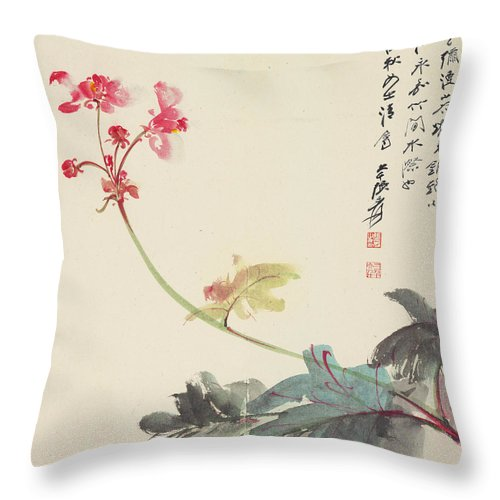 Zhang Daqian (10 May 1899 – 2 April 1983) Was One Of The Best-known And Most Prodigious Chinese Artists Of The Twentieth Century. Originally Known As A Guohua (traditionalist) Painter Throw Pillow featuring the painting Peony by Zhang Daqian