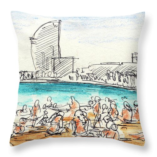 Barcelona Throw Pillow featuring the drawing People Sunbathing At Barcelona Beach Drawing by Frank Ramspott