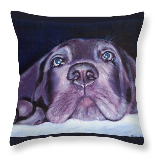 Portrait Throw Pillow featuring the painting Pepper by Fiona Jack